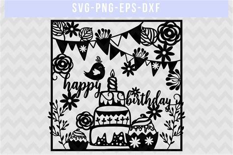 Find & download free graphic resources for paper cut. Happy Birthday SVG Cut File, Papercut Template, DXF EPS ...