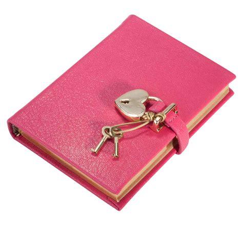 Tagebuch Aus Leder Mit Schloss, Pink  Online Kaufen Bei