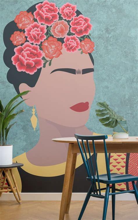 frida kahlo portrait floral wallpaper mural art