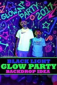 DIY Black Light GLOW PARTY idea NEON paint backdrop