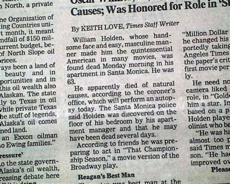 Death Of Famed Actor William Holden...