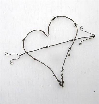 Wire Heart Barb Barbed Rustic Arrow Crafts