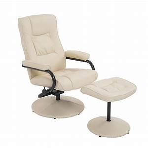 Homcom, Contemporary, Recliner, Chair, And, Ottoman, Set, Swivel, Armchair, With, Wrapped, Base, Cream