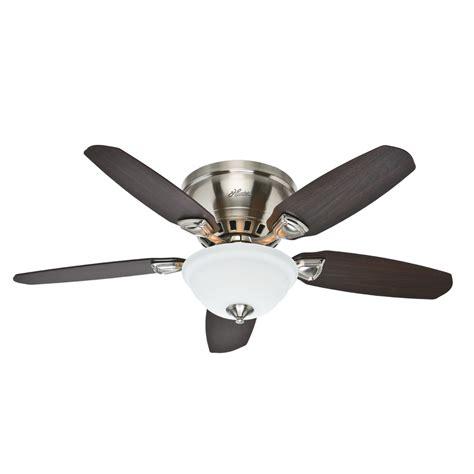 flush mount ceiling fan with light shop hunter louden 46 in brushed nickel indoor flush mount