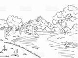 River Mountain Landscape Illustration Vector Sketch Graphic Coloring Cartoon Computer Russia sketch template
