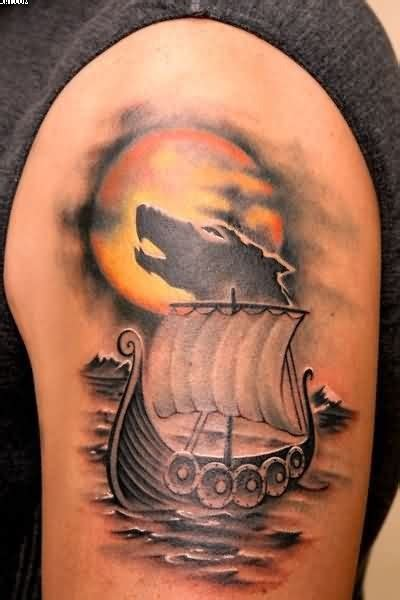 awesome designed colored tattoo  big viking ship