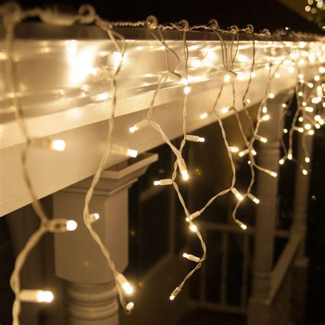 icicle lights white wire 70 5mm led icicle lights warm white white wire yard envy