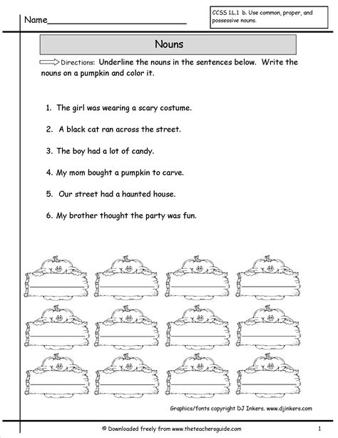 nouns worksheets from the s guide
