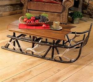 Rustic tables hickory and antler sleigh table rustic for Sled coffee table