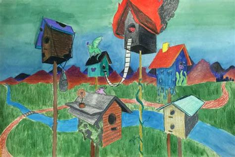 birdhouses   point perspective drawing  coloring