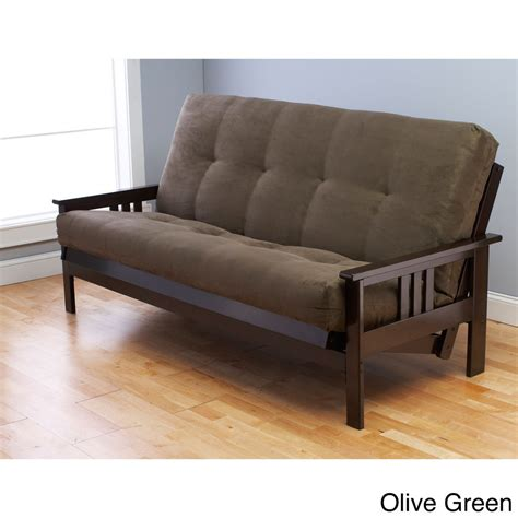 Somette Monterey Hardwood Suede Queen Size Futon Sofa Bed. Floral Couch. Black Tile Flooring. Industrial Faucet. Edison Pendant Light Fixture. Modern Wall Clock. Modern Window Valance. Apothecary Chest. Battery Operated Wall Sconces