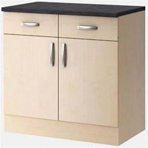 Meuble Bas 2 Portes : meuble bas 2 portes paprika erable 100 cm ~ Dallasstarsshop.com Idées de Décoration