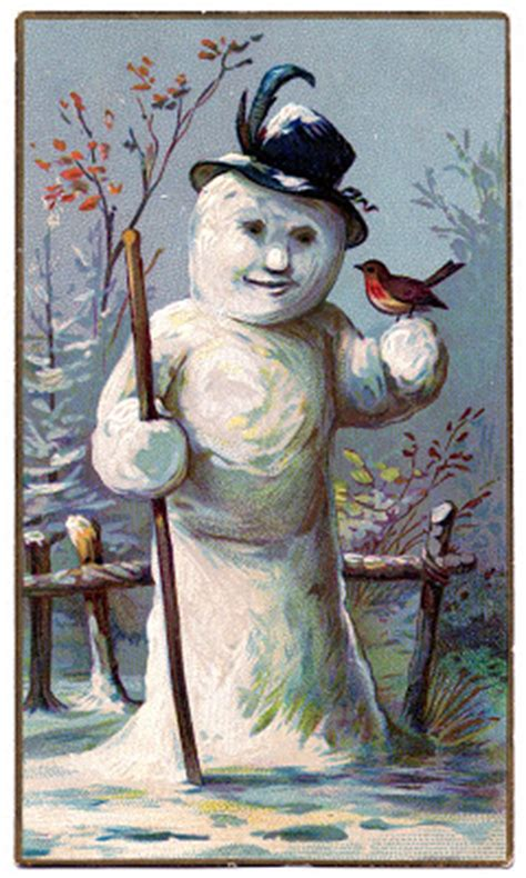 vintage winter graphic lady snowman  graphics fairy