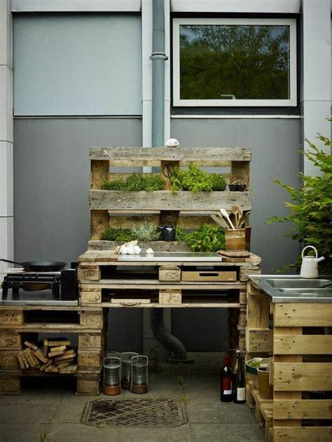 outdoor kueche aus paletten selber bauen   kueche