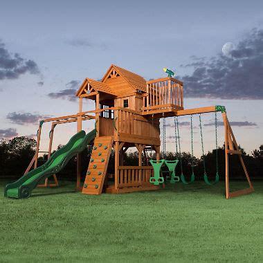 backyard discovery swing set backyard discovery skyfort ii cedar swing set play set