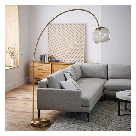 west elm overarching acrylic shade floor l brass smoke