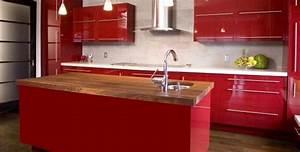 cuisine rouge plan de travail With cuisine rouge plan de travail noir