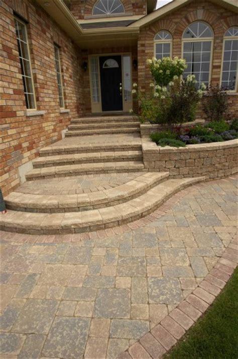 Unilock Steps - unilock front entrance with steps and stonehenge paver