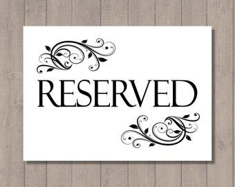reserved sign template printable reserved table sign collection 2 sizes 4 quot x 6 quot and 5 quot x 7 quot digital