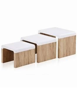 Table Basse Blanc Bois : table basse encastrable gigogne bois et blanc scandinave nordic ~ Teatrodelosmanantiales.com Idées de Décoration