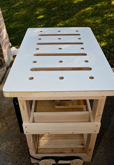 simple sturdy mobile plywood workbenchassembly table