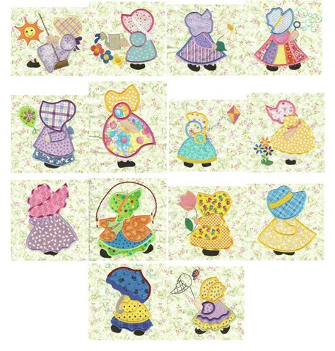 sunbonnet sue applique sunbonnets applique machine embroidery designs designs