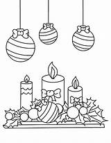 Coloring Candle Christmas Pages Mistletoe Under Print Printable Getcolorings Colornimbus sketch template