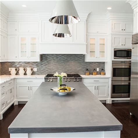 Kitchen Island with Concrete Countertop   Transitional