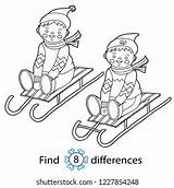 Coloring Differences Shutterstock Sledding sketch template