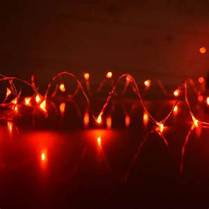 Red plug in led dew drop string lights