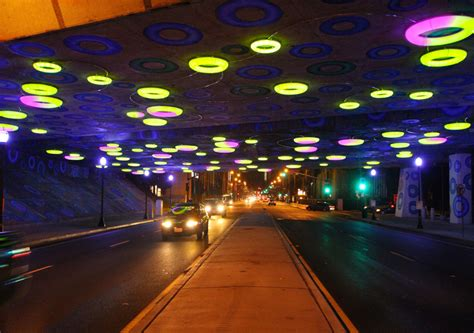 led halos interactively light up highway underpass in san