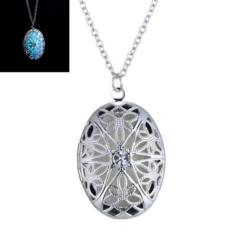 aromatherapy locket necklace noctilucent hollow flower locket necklace for perfume