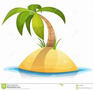 Palm Tree On Tropical Desert Island Stock Vector - Image ...
