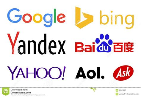 search engine companies web search engines logos editorial photography