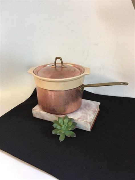 paul revere signature saucepanvintage copper ceramic double boiler cook pan copper  qt