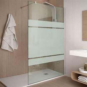 paroi de douche fixe 110 cm verre 8 mm serigraphie With porte de douche coulissante avec miroir salle de bain sans buee