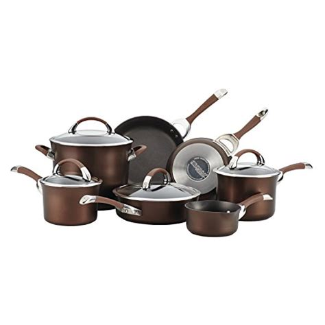 circulon cookware symmetry anodized hard nonstick chocolate piece pots pans safe sets dishwasher dining