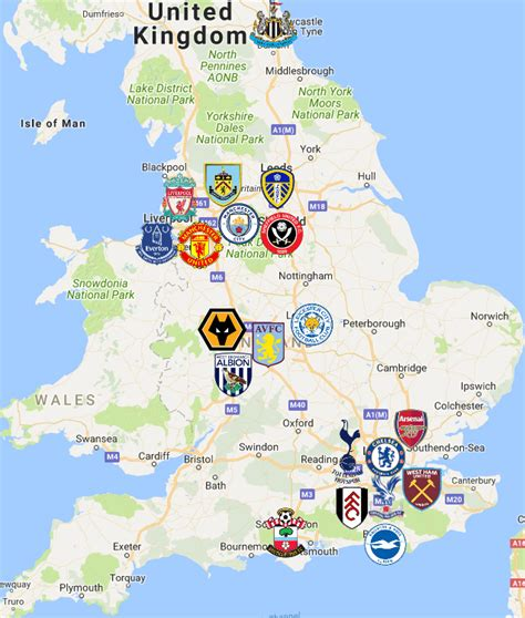 Premier League Map | Clubs | Logos - Sport League Maps