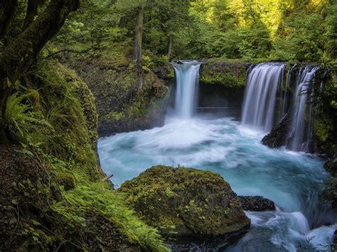 beautiful waterfall blue water rocks green forest hd