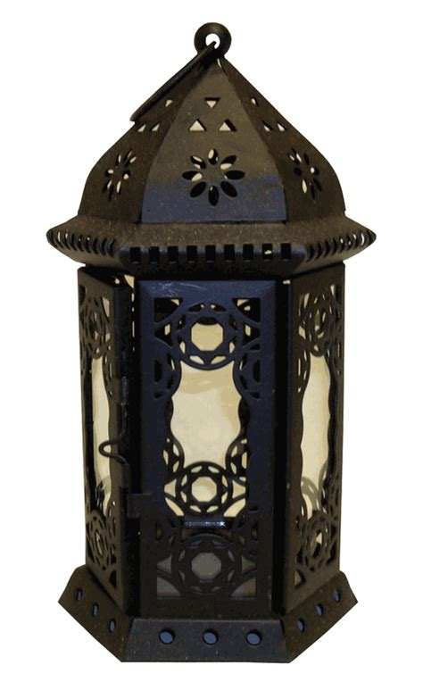 "Decorative Large Hexagon Candle Lantern Black 85"" Height"
