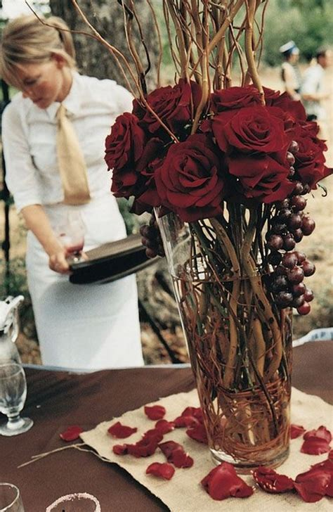 burgundy wedding centerpieces roses rings