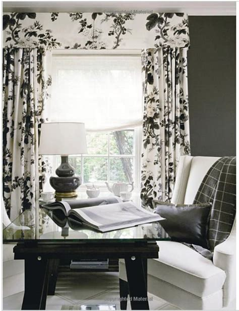 White And Silver Valance by Black White Floral Curtains Windows