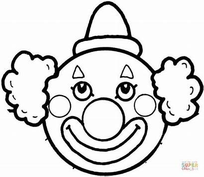 Coloring Face Pages Clown Clowns Printable Drawing