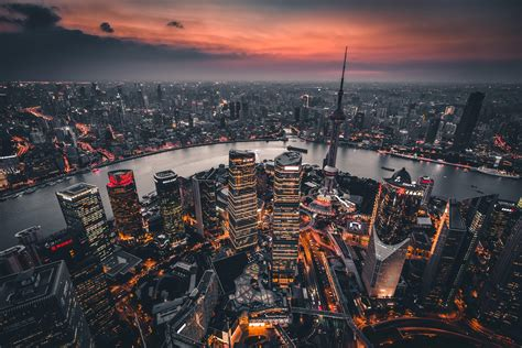 wallpaper night city aerial view lights city overview