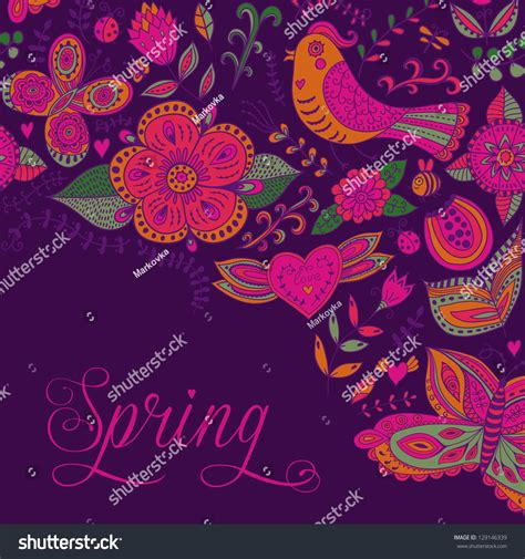 spring coming card floral background spring stock vector