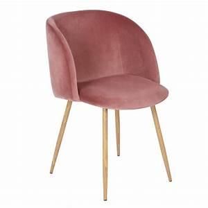 Fauteuil Velours Rose : chaise scandinave velours avec accoudoirs fauteuil de tissu rose rouge achat vente chaise ~ Teatrodelosmanantiales.com Idées de Décoration