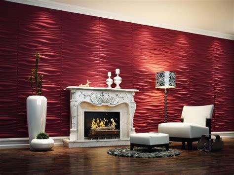 contemporary  wallpaper  lounge space  red color