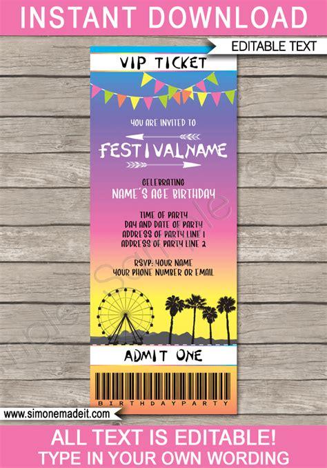 coachella party printables decorations invitations