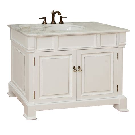 42 inch white vanity with marble top shop bellaterra home white rub edge undermount single