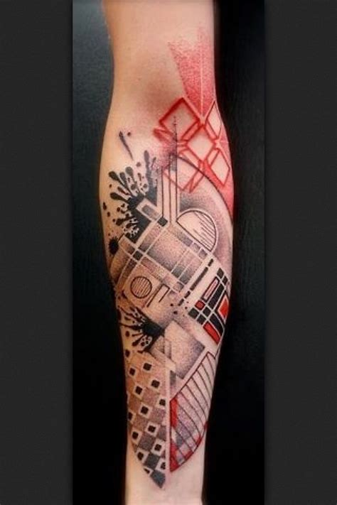 black ink geometric bear head tattoo  man chest